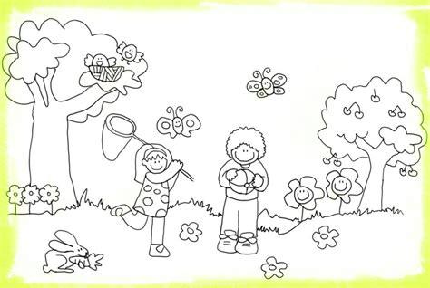 Dibujos Niños en Primavera para Colorear   Imágenes de ...
