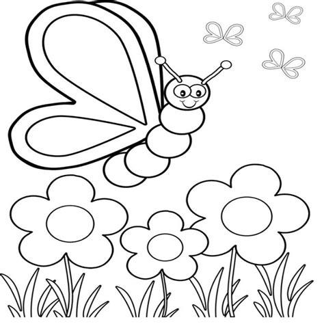 Dibujos Para Colorear Flores Y Mariposas