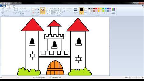 Dibujos para niños con Paint: Cómo dibujar un castillo con ...