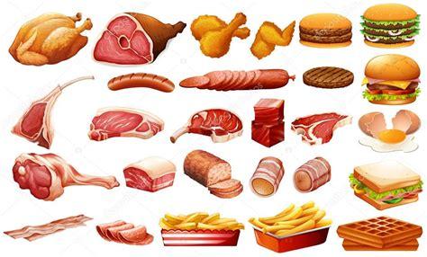 Diferentes tipos de carnes y alimentos — Vector de stock ...