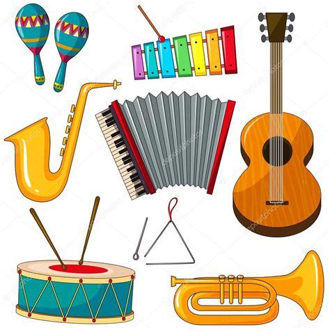 Diferentes tipos de instrumentos musicais — Vetores de ...