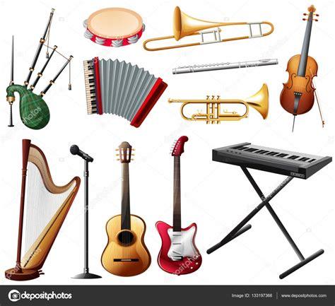 Diferentes tipos de instrumentos musicales en blanco ...