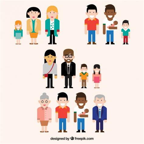 Different Types of Families Collection Vector | Free Download