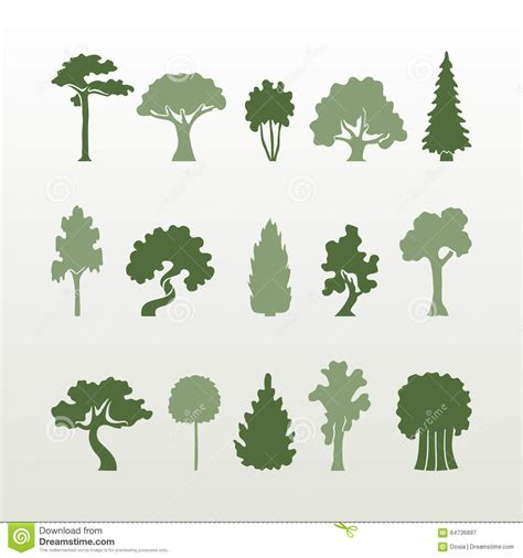 Different Types Of Trees Vector. Stock Vector ...
