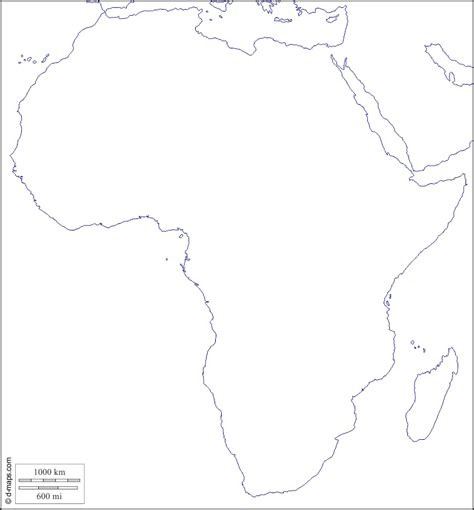 Dilsiz Afrika Kıtası Haritası - Coğrafya Haritaları