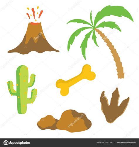 Dinosaur footprint, Volcano, Palm tree, Bone and Cactus ...