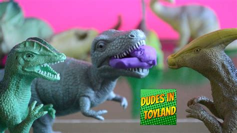 Dinosaur toys playing Play Doh videos for children t-rex ...
