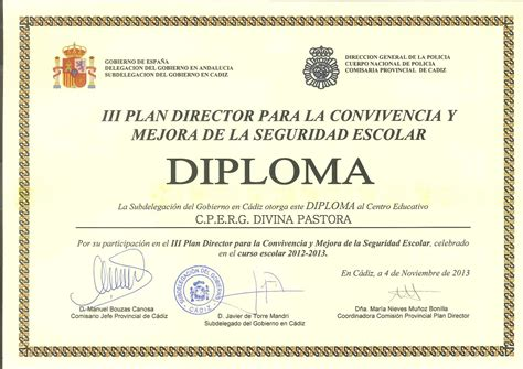 Diploma plan director convivencia.