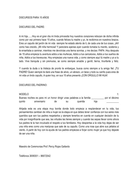 DISCURSOS PARA 15 AÑOS
