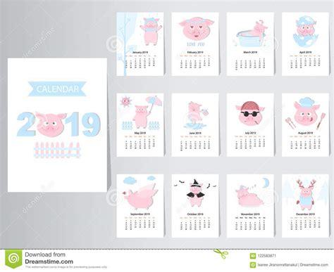Diseño Animal Divertido Del Calendario 2019, El Año De Las ...