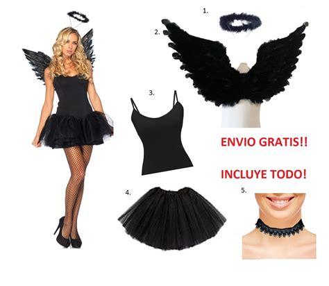 Disfraz De Angel Caido O Negro Con Aro Y Tutu Para ...