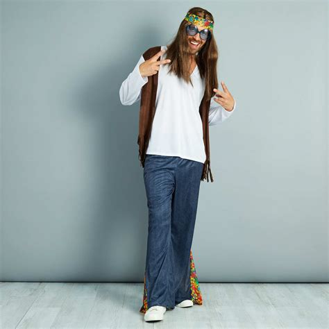 Disfraz de hippie Hombre - blanc/bleu/marron - Kiabi - 22,00€