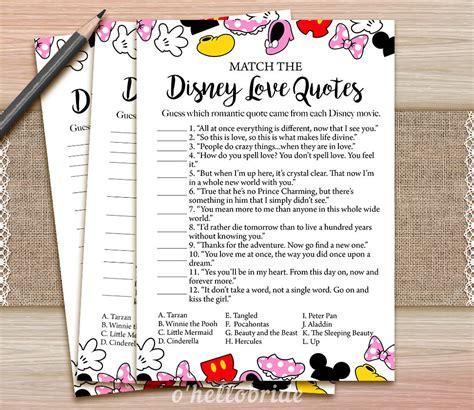 Disney Love Quotes Match Game Printable Disney Bridal Shower