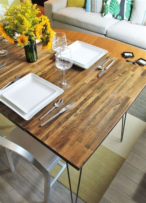 DIY d dining table with leaves using IKEA countertop and ...