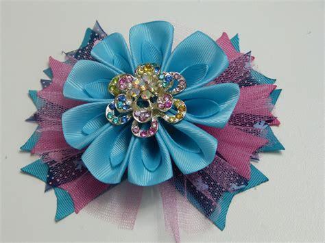 DIY moños con flores de liston para el cabello, DIY bows ...