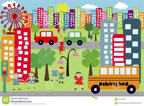 Doodle City For Children Royalty Free Stock Photos - Image ...
