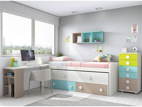 Dormitorio juvenil cama nido + sinfonier + mesa