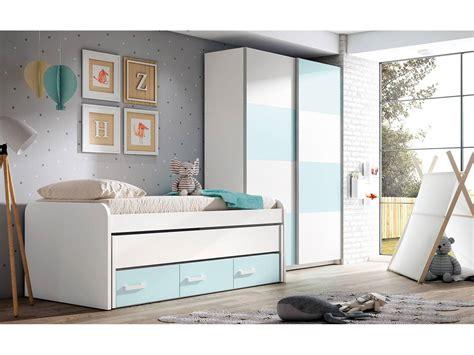 Dormitorio juvenil colores blanco y azul nube