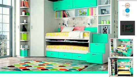Dormitorio Juvenil con mesa de estudio y dos camas