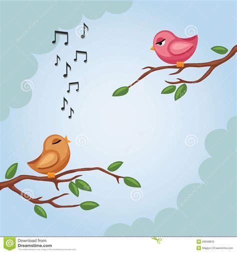 Dos pájaros en una rama en vector