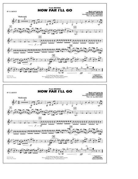 Download How Far I'll Go (from Moana) - Bb Clarinet Sheet ...