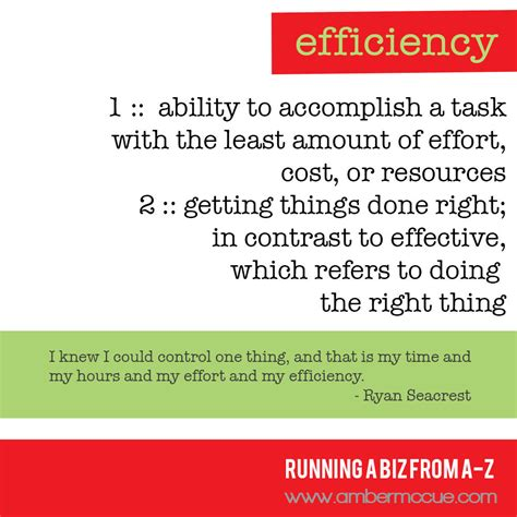 E. Efficiency – Running Biz from A to Z   Amber McCue