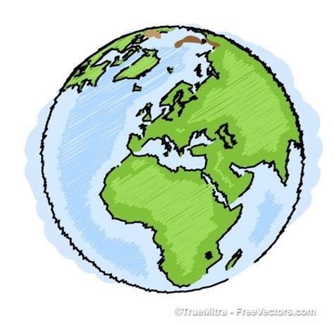 Earth drawing blue green ilustration vector | freebies ...