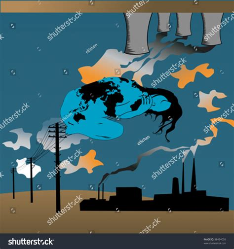 Earth Pollution Concept Stock Vector Illustration 88494055 ...