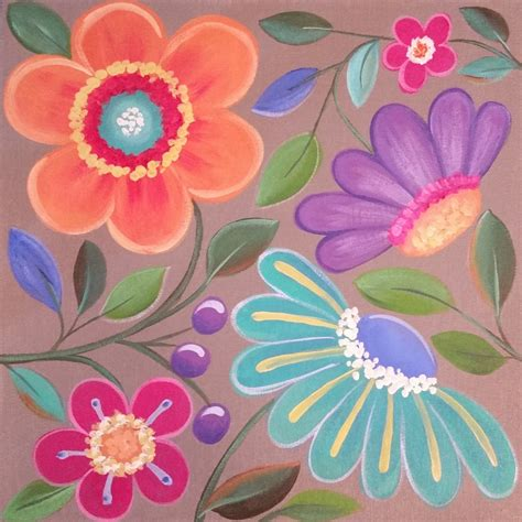Easy Whimsical Flowers Acrylic Painting Tutorial for ...