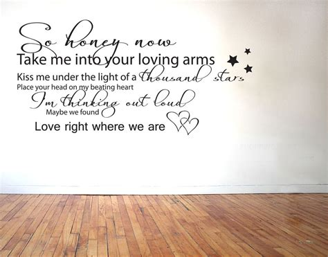 ED SHEERAN - THINKING OUT LOUD LYRICS - VINYL WALL STICKER ...