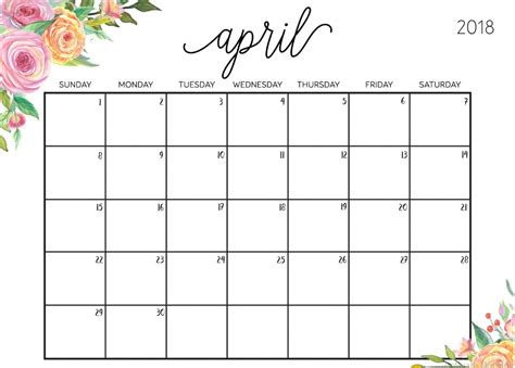 Editable April 2018 Calendar | Calendar 2018