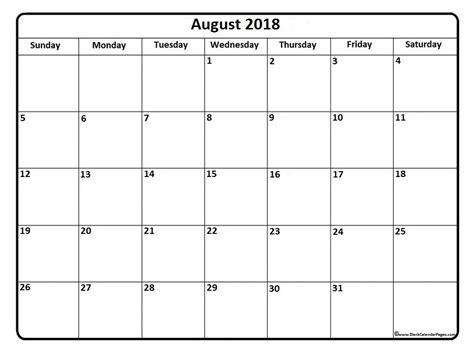 Editable Calendar August 2018 | happyeasterfrom.com