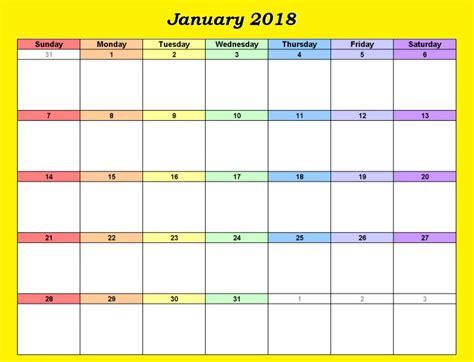 Editable Calendar January 2018 | Calendar 2018