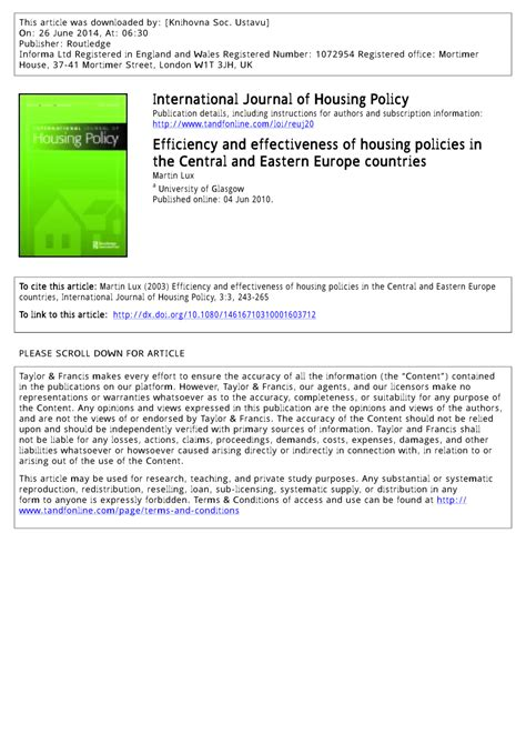Efficiency and Effectiveness of Housing Policies in ...