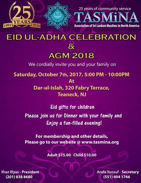 EID Ul- Adha Celebration & AGM 2018 | TASMiNA