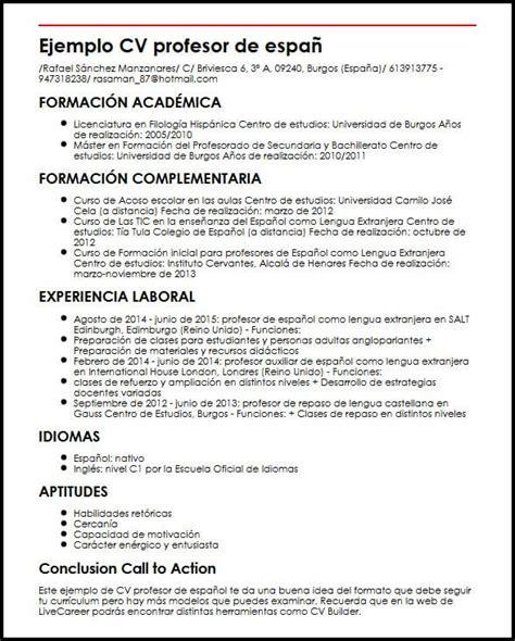 Ejemplo CV Profesor De Espanol | MiCVideal