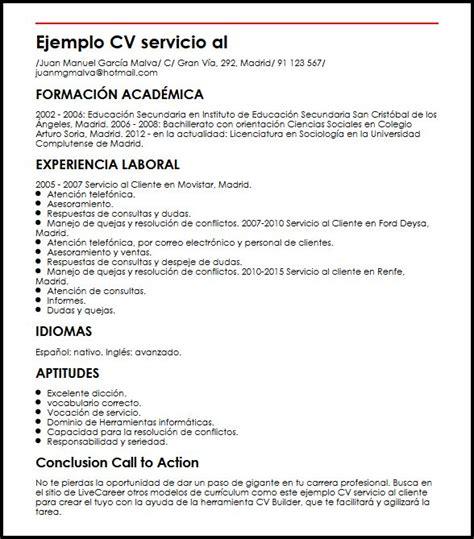 Ejemplo CV Servicio Al Cliente | MiCVideal