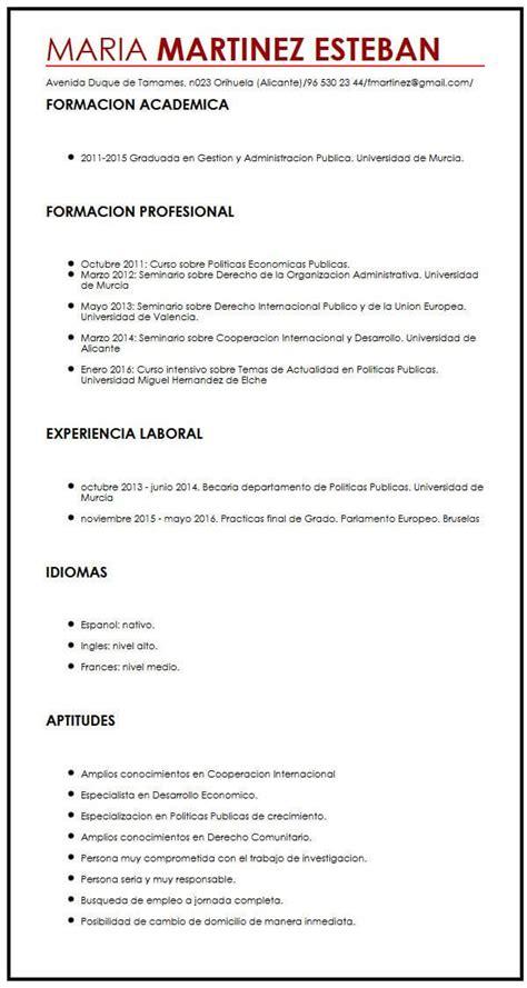 Ejemplo de CV en espanol | Muestra curriculum Vitae