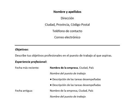Ejemplo de Resume cronológico | Formato de Resume ...