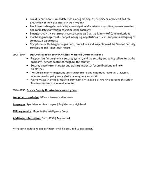 Ejemplo de Resume para Security Management - Currículum ...