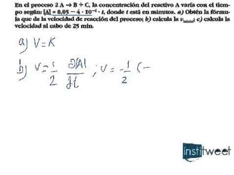 Ejercicio resuelto de Cinética química Ecuación de ...