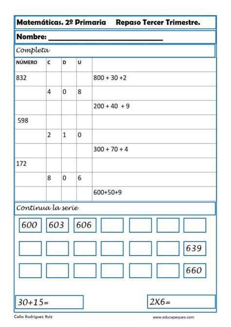 Ejercicios de Matemáticas Segundo Primaria