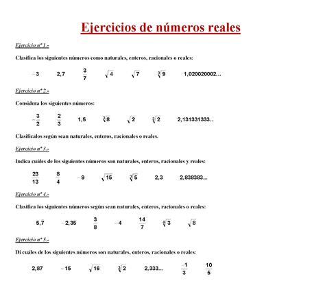 Ejercicios de números reales | Clases de inglés en Granollers