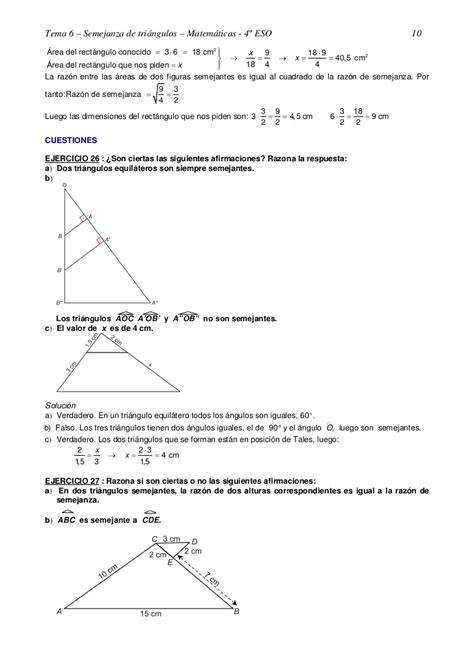 Ejercicios resueltos yyyysemejanza de triángulos