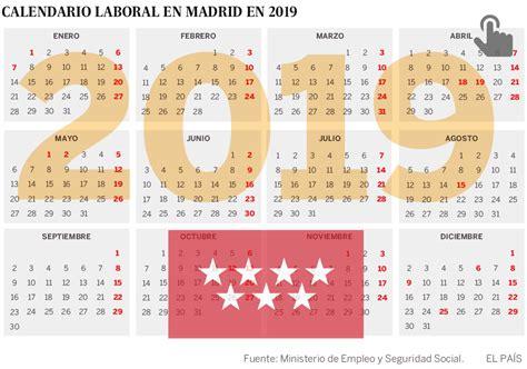 El calendario laboral de Madrid 2019 tendrá dos ...