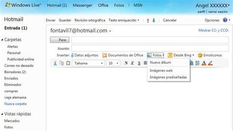 El correo de Hotmail permite enviar 10 GB de fotos