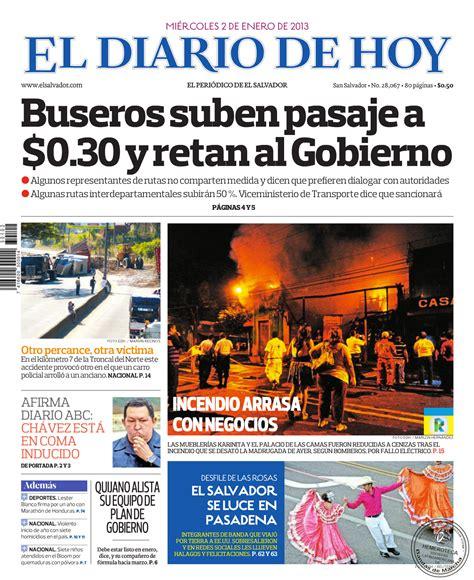 El Diario de Hoy El Salvador portada cover 2 1 2013 ...