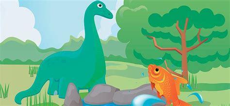 El dinosaurio y el pequeño pez. Cuentos cortos con moraleja