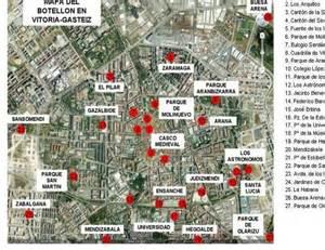 El mapa del botellón de Vitoria . El Correo