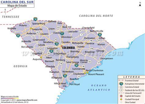 El Mapa del Estado de Carolina del Sur   Estados Unidos de ...